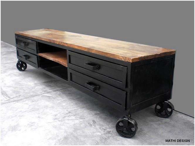 Le vintage industriel a la c te renovation et decoration - Meuble de cuisine industriel ...